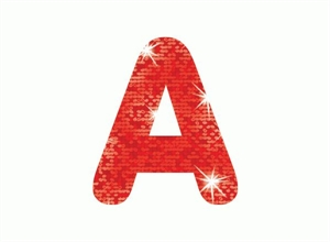 Picture of Red Sparkle Letter Stickers
