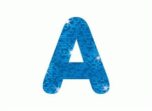 Picture of Blue Sparkle Letter Stickers