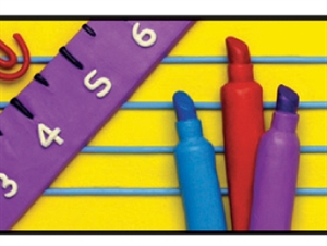 Picture of School Tools in Clay Border