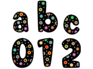 Picture of Dots on Black Lowercase Letter Stickers