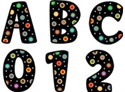 Picture of Dots on Black Uppercase Sticker Letters