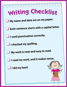 Picture of Writing Checklist Learning Chart