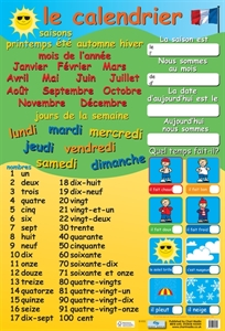 Picture of French Calendar & Numbers Learning Chart
