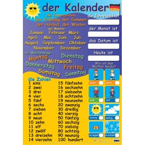 Picture of German Calendar & Numbers Learning Chart