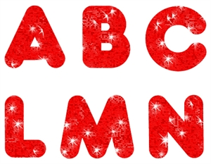 Picture of Red Sparkle Uppercase Letters